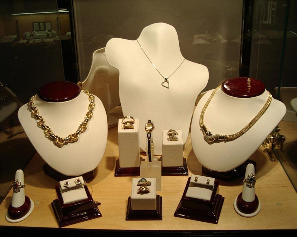 jewellery products on display showcasing necklaces, bracelets and rings
