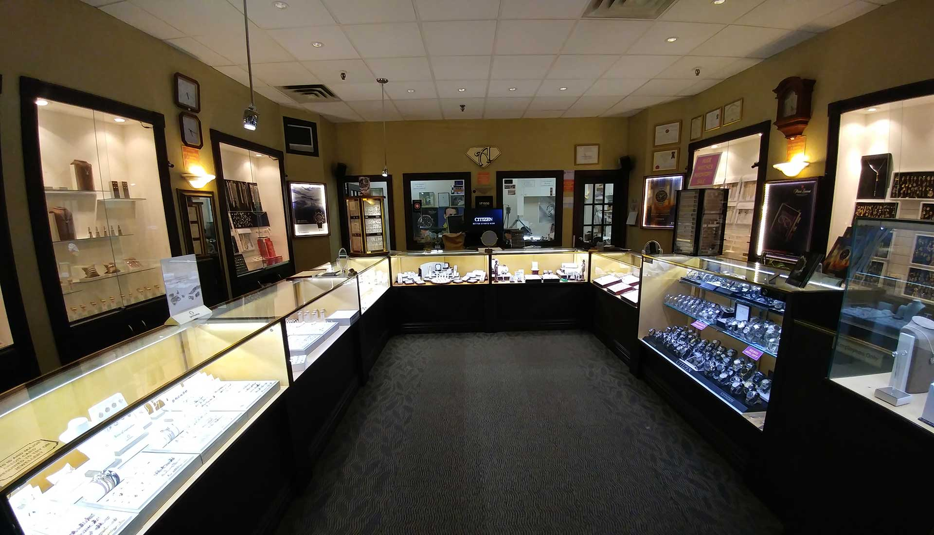 aria jewellers store, displaying jewellery